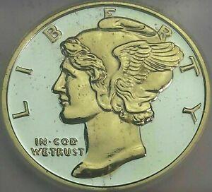 MERCURY DIME .999 SILVER ROUND GOLD GILDED PRISTINE ICG PROOF GENUINE