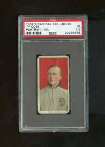 1909 T206 Ty Cobb Portrait Red Background SWEET CAPORAL 350-460/30 PSA 1.5 FAIR