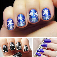 Professional 1 Sheet Nail Art Stickers White Snowflakes Water Transfer Decal