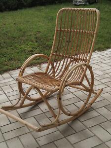 älterer gut erhaltener Bambus/ Rattan Schaukelstuhl