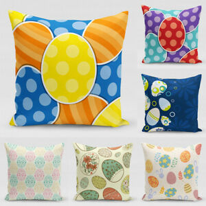 Pillow Cases For 18'' Easter Painted Eggs Decorative sofa Cotton Cushion Covers