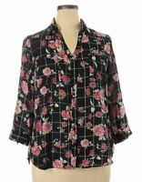 Women's BCX NWT Black Floral Blouse Roll Up Sleeves 506 Size Large