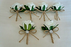 Rustic 6 x Rose Buttonholes Ivory Wedding Groom, Ushers