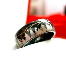 Black Tungsten Ring, Mens Ring, Women Ring Fir Trees and Mountains Engraved Ring