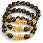 3x Feng Shui Black Obsidian Beads Bracelet Attract Wealth Good Luck Bangle pixiu