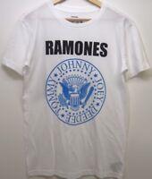 New Mens White Ramones Band Logo Johnny Tommy Joey Deedee T-Shirt Sz XS - 3XL