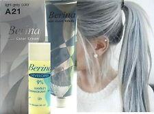 Berina A21 Light Grey Silver Shade Hair Color Cream Permanent Unisex Hair Dye