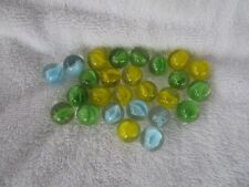 VINTAGE CATS EYE 26 LOT MARBLES~Yellow, Blue, Green~VERY GOOD CONDITION!!