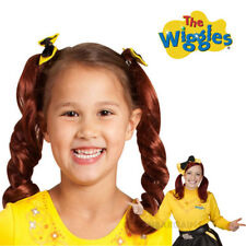 THE WIGGLES EMMA RED PIGTAILS & BOW WIG YELLOW WIGGLE CHILD COSTUME ACCESSORY