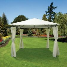 Ivory Luxury Steel Framed Gazebo 4 Side Curtains Outdoor Garden 3x3x2.6M