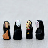 4pcs/set Cute Anime Spirited Away No Face Man Figures Collection Resin Toy Gift