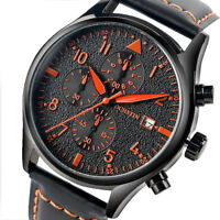 OCHSTIN 3ATM Water Resistant Genuine Leather Band  Analog Date Men's Wrist Watch