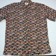 KAHALA Multi-Color Print Short Sleeve Cotton Button Hawaiian Shirt Mens L