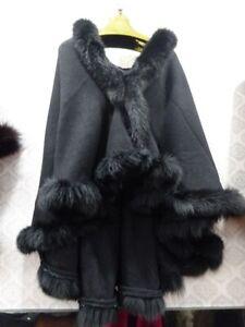 Cashmere knitwear poncho cape fox fur Frills Shawl wrap overcoat outerwear