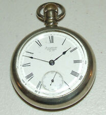Antique 1883 WALTHAM 18s Victorian 15J Railroad RR Silver Pocket Watch