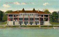 Bloomington Illinois~3 Story Miller Park Pavilion~Lakefront View~1908 Postcard