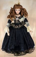 """The Doll Museum Porcelain Collector's Doll 19"""" Brown Hair Blue Eyes Eyelashes"""