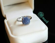 Genuine Silver Stack sapphire ring,Co Sugar style wedding band,white gold plated
