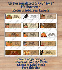 Colourful Whimsical 30 Custom HALLOWEEN 1 FALL Address Labels Pumpkins Crow Baby