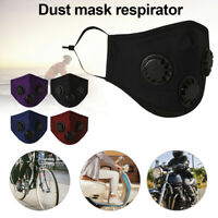 Outdoor Cycling Dual Valves Anti Haze Pollen Dustproof Face Mouth Cover+2Filters