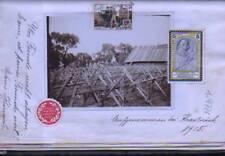 (n9776)   Foto Stacheldrahtverhau mit 3 Soldatenvignetten ua Kriegfürsorge