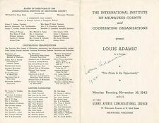 LOUIS ADAMIC - PROGRAM SIGNED 1942