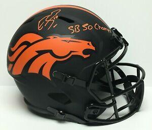 """Emmanuel Sanders Signed F/S Denver Broncos Eclipse Helmet """"SB 50 Champs"""" BAS"""