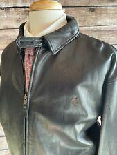 Polo Ralph Lauren Leather Bomber Harrington Jacket Mens Size 2XL Black