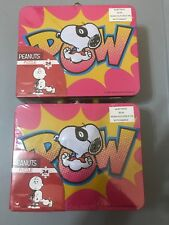 Snoopy Peanuts Superhero Dog Lunchbox Tin 24 pc Puzzle Collectible 3D Set Of 2