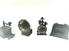 Lot Of 4 Vintage Die Cast Metal Pencil Sharpeners Phono Clock Fireplace Grinder