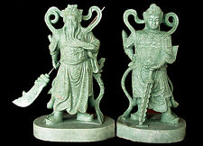 HAND CARVED JADE CHINESE GODS WEI TUO & GUAN GONG CARVING STATUE w/ AIGS Cert.