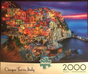"Buffalo Puzzle""Cinque Terre,Italy""2000 Piece Puzzle Complete w/poster Free Ship+"