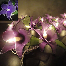 20 Purple Orchid Flower Fairy String Lights Wedding Party Floral Home Decor 3.5m