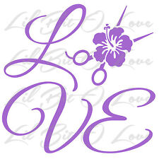 Love with Scissors & Hibiscus Cosmetology Decal Hair Stylist Sticker
