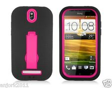 HTC One SV Cricket Boost Hybrid S Armor Case Skin Cover w/ Stand Black Hot Pink