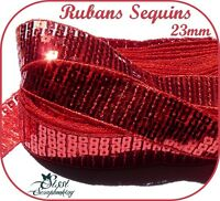 RUBAN GALON SEQUIN PAILLETTE BRILLANT FRAMBOISE TROUSSE COUTURE 5 RANG 22mm