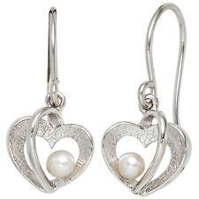 Ohrhänger Herz 925 Silber eismatt 2 Süßwasser Perlen Ohrringe Perlenohrringe