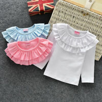 children T-shirts Fall Girls double lace collar long sleeve tops tees 0-6 Years