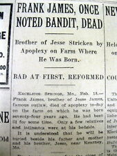 <1915 newspaper WILD WEST OUTLAW FRANK JAMES DEAD Younger Gang TRAIN BANK ROBBER