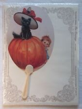 Turn of Century Fan Greetings w Envelope Pumpkin Cat Halloween Reproduction 1901