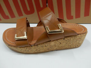 FitFlop Womens Remi Adjustable Leather Slides Light Tan 7