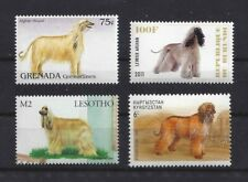 Dog Art Full Body Portrait Postage Stamp Collection Afghan Hound 4 Four x Mnh