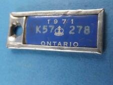 MINI LICENSE PLATE ONTARIO WAR AMPS 1971 CANADA CONFEDERATION KEY RING VINTAGE