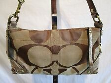 Coach Small Carly Khaki Canvas Signature C & Gold Lthr Shoulder/Baguette Handbag