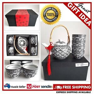 Villa Homewares Akita 5-Piece Japanese Hand-Painted Tea Set in a Sleek Gift Box