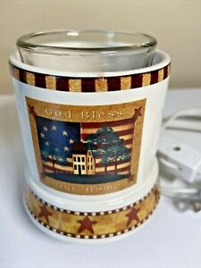 Electric Votive Candle Warmer Plug In Bless Our Home Ceramic Country Americana