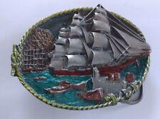 WOODEN 3 MAST SAILING SHIP HARBOR NAVY OCEAN BELT BUCKLE BERGAMOT MADE IN USA