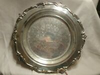 Vintage Eton Silver plated footed decorative deep Serving Dish bowl platter 14""