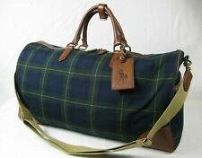 895 RALPH LAUREN RL Black Watch Tartan Canvas-Leather Large Duffel Travel  Bag 67757a70b9ed8