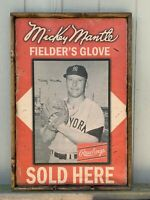 Antique Style Mickey Mantle Rawlings Glove Sign 12x24 ! Great Size !!
